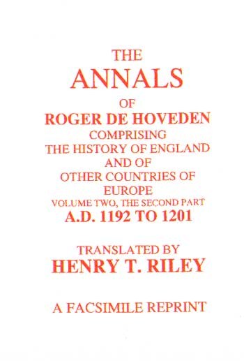 The Annals of Roger De Hoveden Volume 2: Part 2: ( 1192 - 1201)